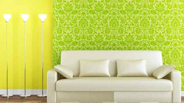 White Sofa And Green Yellow Background