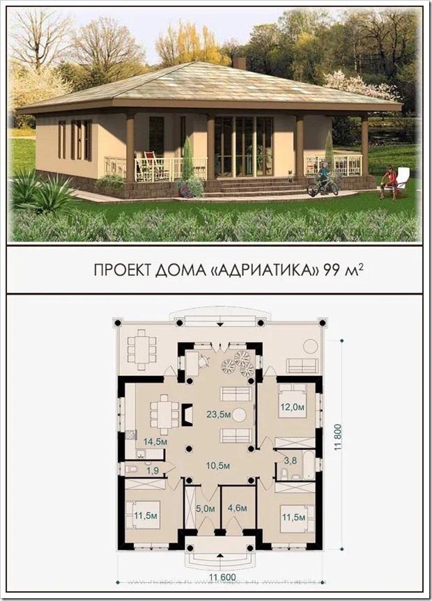 Адриатика - готовый проект одноэтажного дома 99 м2 Инваполис